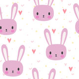 Cute seamless pattern for little girls with funny bunny. Smile characters. Vector illustration Stock Photo