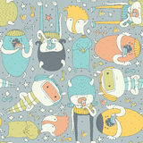 Cute seamless pattern with lovely doodle monsters eating, staying and looking at spectator. Colorful creatures on grey background. Royalty Free Stock Images