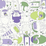Cute seamless pattern with lovely doodle monsters eating, staying and looking at spectator. Purple and green creatures on light ba Royalty Free Stock Photography