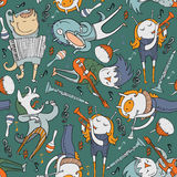 Cute seamless pattern with lovely monsters with different music instruments and singing. Color  illustration on dark green b Stock Photography
