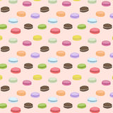 Cute seamless pattern with macaroons. Vector background. French sweets. Colorful macaroon. Pink pattern Stock Image