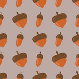 Cute seamless pattern made of brown acorns background autumn nature fall season forest design vector illustration Royalty Free Stock Image