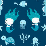 Cute seamless pattern with mermaids. And sea animals on blue and white colors for children clothing and paper wrapping Royalty Free Stock Photo