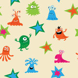 Cute seamless pattern with monsters Royalty Free Stock Photography