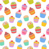 Cute seamless pattern with muffins and cupcakes royalty free illustration