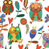 Cute seamless pattern  with owls Royalty Free Stock Images