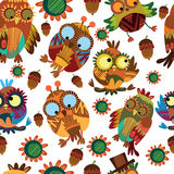 Cute seamless pattern  with owls. Cute colorful floral seamless pattern with owl and flowers Stock Photos