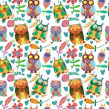 Cute seamless pattern  with owls Royalty Free Stock Image