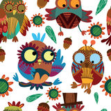 Cute seamless pattern  with owls. Cute colorful floral seamless pattern with owl and flowers Royalty Free Stock Image