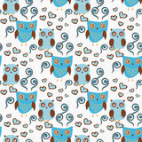 Cute seamless pattern with owls couple. Blue and brown owls Stock Image