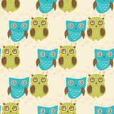 Cute seamless pattern with owls couple. Blue and green owls. Vector illistration Royalty Free Stock Photography