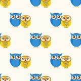 Cute seamless pattern with owls couple. Royalty Free Stock Images