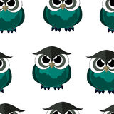 Cute seamless pattern with owls. Vector isolated image. Stock Photography
