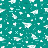 Seamless pattern with paper airplane and hearts. Cute seamless pattern with paper airplane and hearts. Template for design, fabric, print. Valentine\'s Day Royalty Free Stock Photos