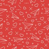 Seamless pattern with paper airplane and hearts. Cute seamless pattern with paper airplane and hearts. Template for design, fabric, print. Valentine\'s Day Stock Photos