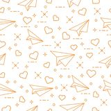 Seamless pattern with paper airplane and hearts. Cute seamless pattern with paper airplane and hearts. Template for design, fabric, print. Valentine\'s Day Royalty Free Stock Images