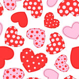 Cute seamless pattern with patchwork hearts. Vector background Royalty Free Stock Images