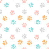 Cute seamless pattern with paw prints. Animal background. Royalty Free Stock Image
