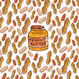 Cute seamless pattern with peanuts and butter jar. Sketched nuts hand drawn vector background. For your design, textile, fabric, s Stock Images