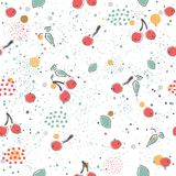Cute Seamless Pattern with pears, cherries dotted background. ha Stock Images