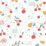 Cute Seamless Pattern with pears and dotted background. hand Dra Royalty Free Stock Image