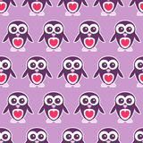 Cute seamless pattern with penguins Stock Photos
