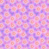 Cute seamless pattern of pink flowers on the blue background Royalty Free Stock Photos