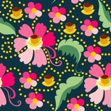 Cute seamless pattern of pink flowers. With yellow cups of tea or coffee Royalty Free Stock Photography