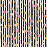 Cute seamless pattern with pink and golden circles and stars, black and white stripes stock illustration