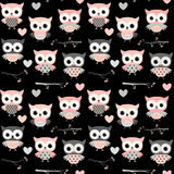 Cute seamless pattern with pink and grey owls. Cute seamless pattern with cartoon owl characters on black background Stock Images