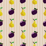 Cute seamless pattern with pixel fruit on a striped background. Cute and sweet stylized seamless pattern of pixel pears and pixel plums on a pastel beige striped Royalty Free Stock Image