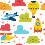 Cute seamless pattern with plane, helicopter, hot air balloon Royalty Free Stock Photo