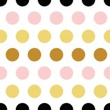 Vector seamless pattern polka dot abstract ornament made from yellow golden, pink, black hand drawn round shape elements. Cute seamless pattern polka dot royalty free illustration