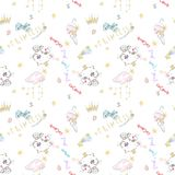 Cute seamless pattern with princess cat, crowns and ice cream. Stock Images