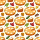 Cute Seamless Pattern with Pumpkin Pie and autumn leaves. For your decoration royalty free illustration