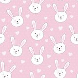 Cute seamless pattern with rabbit in childish style Stock Image