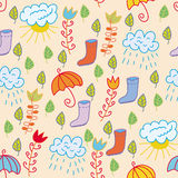 Cute seamless pattern with rain motives Stock Image