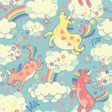 Cute seamless pattern with rainbow unicorns royalty free illustration