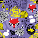Cute seamless pattern with red foxes and autumn leaves. stock illustration