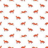 Cute seamless pattern with red foxes. Vector illustration for decoration for textile, notebooks, wallpapers etc Stock Image