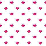 Cute seamless pattern of red hearts and lips on a white background. It can be used for packaging, wrapping paper, textile, phone case etc Royalty Free Stock Photos