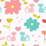 Cute seamless pattern with repeating cats, flowers and hearts. Drawn by hand, sketch, doodle. Stock Images