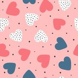 Cute seamless pattern with repeating hearts and round dots. Romantic endless print. Drawn by hand. Stock Photography