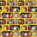 Cute seamless pattern with road and cartoon houses Royalty Free Stock Images