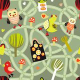 Road seamless pattern with houses and birds. Cute seamless pattern with road, houses and birds Royalty Free Stock Images