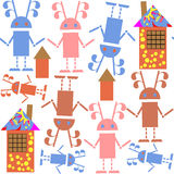 Cute seamless pattern with robots and houses and seamless patter Stock Images