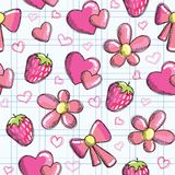 Cute seamless pattern with romantic elements Royalty Free Stock Images