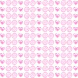 Cute seamless pattern with rose cartoon hearts and spirals on wh Royalty Free Stock Photography