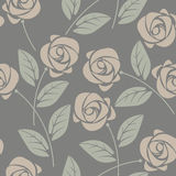 Cute seamless pattern with roses and leaves on grey background. Can be used for linen, tile design fabric, textile and more creative designs Royalty Free Stock Photo