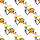 Cute seamless pattern of a running hamburger Royalty Free Stock Photo